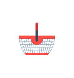 Shopping basket shop supermarket flat vector