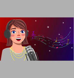 Singer girl blogger sings into a microphone live vector