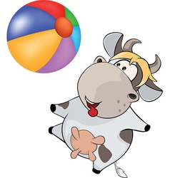 small cow and ball Cartoon vector image