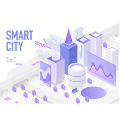smart city isometric technology devices vector image