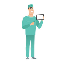 smiling doctor holding tablet computer vector image