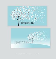 Spring blossom invitation card template simple vector