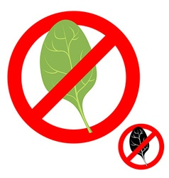 Stop ban spinach Prohibited greens salad vector
