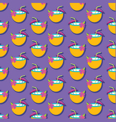 summer seamless pattern with coconut drink vector image