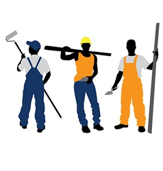 three workers silhouettes vector image