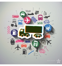 Transportation collage with icons background vector