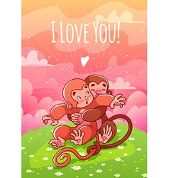 Two enamored monkeys hugging on the lawn vector