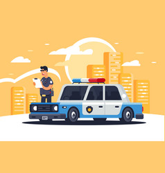 urban modern sedan police car with policeman for vector image
