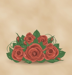 Vintage cute card with bouquet roses vector image