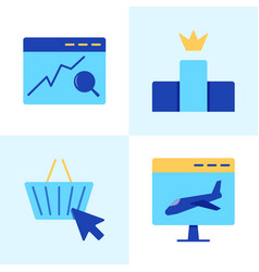 website search optimization icon set in flat style vector image
