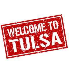 welcome to tulsa stamp vector image