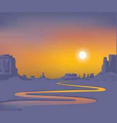 Western landscape with desert and river at sunset vector