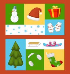 winter holiday time set of banners vector image
