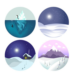 winter landscapes isolated icons countryside view vector image