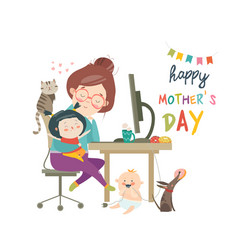 Working at home mother freelancer with two kids vector
