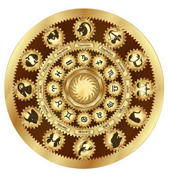 zodiac signs gear mechanism vector image