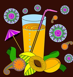 A glass of apricot juice and a straw apricots and vector