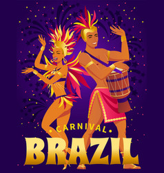 brazil carnival poster with beautiful brazilian vector image vector image