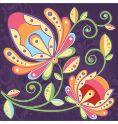 Ethnic floral seamless pattern with flowers vector image