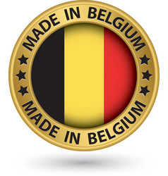 Made in Belgium gold label vector image