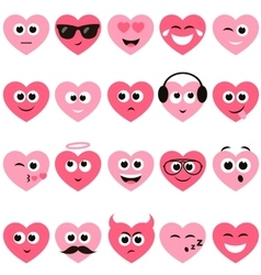 red and pink hearts with smiley faces vector image vector image