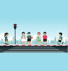 children waiting for the traffic light vector image vector image