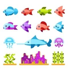 Flat marine animals icons vector image vector image