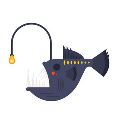 flat style of angler fish vector image