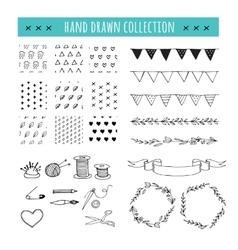 Handmade crafts workshop icons patterns vector image