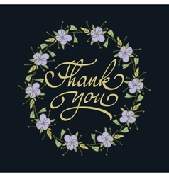 Card template with hand drawn flower border and vector image