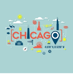 Chicago icons and typography design vector