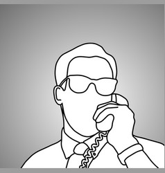 close-up businessman with glasses using retro vector image