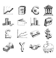 Finance icons set sketch vector image