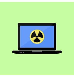 Flat style laptop with virus icon vector image vector image
