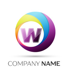 letter w logo symbol in the colorful circle on vector image vector image