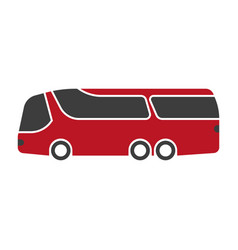 red shuttle bus with black windshield art isolated vector image