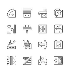 Set line icons of window vector