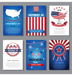 Set of greeting card Independent day background vector image