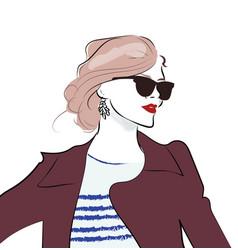 stylish hand drawn girl in sunglasses fashion vector image vector image