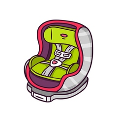 Baby car seat bright children isolated on w vector image