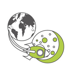 Rocket space with planet earth vector