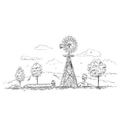 - windmill landscape vector
