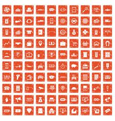 100 coin icons set grunge orange vector