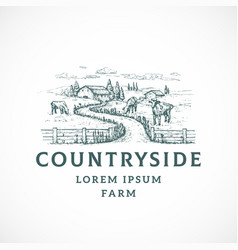 Agriculture farm retro badge or logo template vector