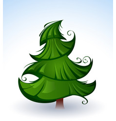 Artistic green christmas tree vector
