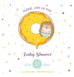 Baby shower or arrival card - hedgehog vector