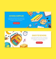 back to school landing page templates set school vector image