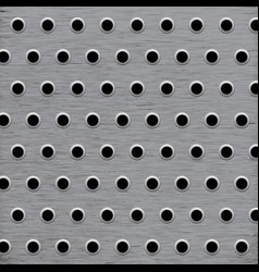 Background pattern wholes in grey metal vector