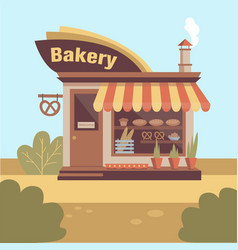 Bakery store building facade with signboard smoke vector