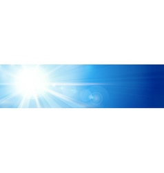 Banner panorama background blue sunny sky vector